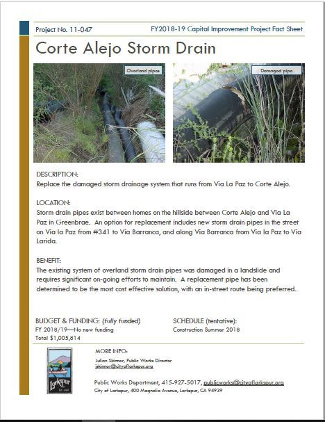 2011-047 Corte Alejo Storm Drain FACT SHEET