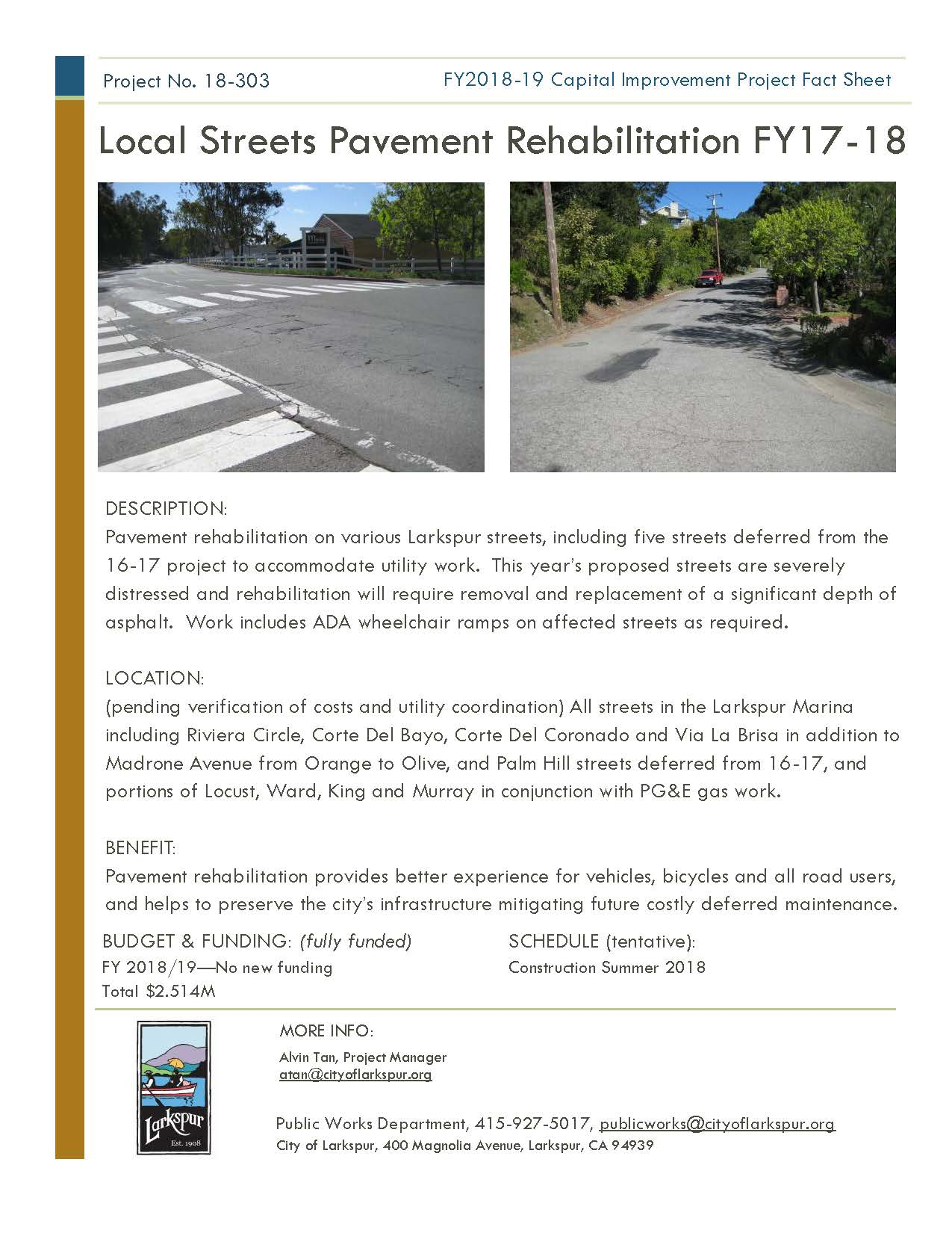 2018-303 Local Street Pavement FY17-18