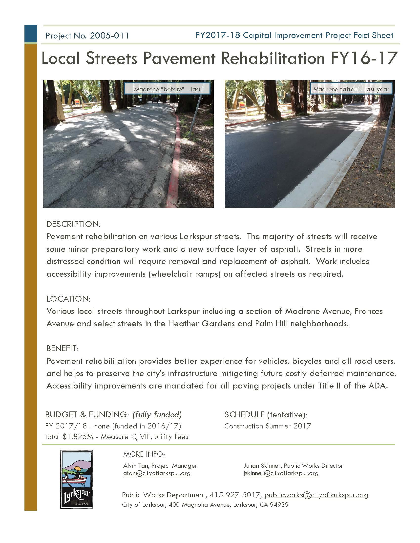 2005-011 Local Street Pavement FY16-17