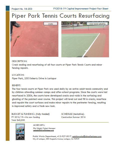2018-203 Piper Park Tennis Court Resurfacing