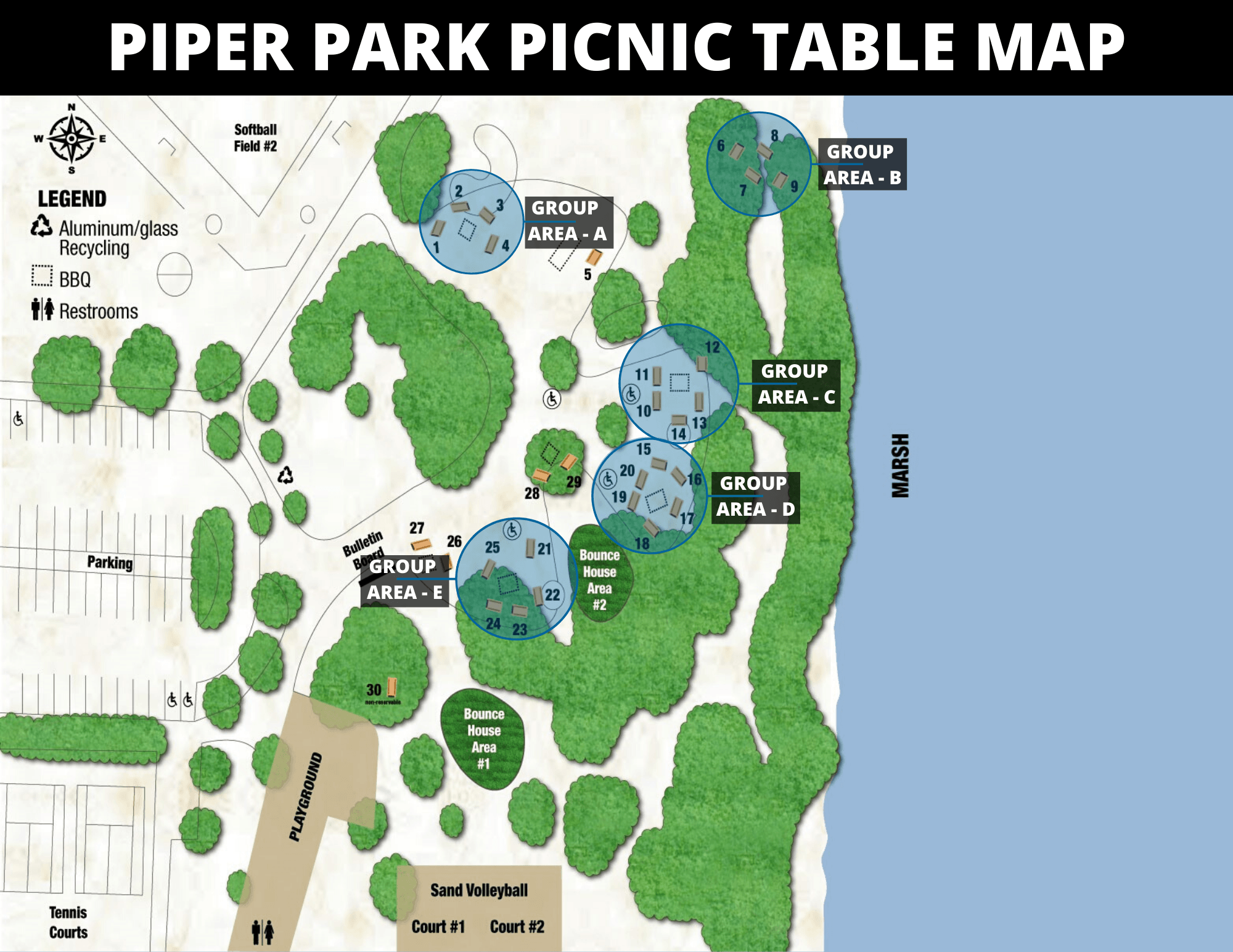 Group Area Picnic Tables Map